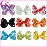 Wholesale Boutique Hair Piece - 30 piece lot 5 inch boutique sequin with solid satin ribbon hair bow for baby girls children hir accessories