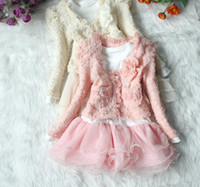 Wholesale Dress Pink Cardigan Flower - Wholesale - New Year Baby clothes set Girls Tutu Skirt Long Sleeve Kids Lace Chiffon Dress Pink Cardigan Flower