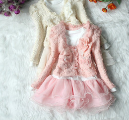 Wholesale pale pink flower - Wholesale - New Year Baby clothes set Girls Tutu Skirt Long Sleeve Kids Lace Chiffon Dress Pink Cardigan Flower