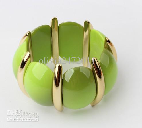 Style bohème Lucite GemStone Bangel Bracelet Réglable Femmes Bracelet Bijoux / mélange couleur GB1
