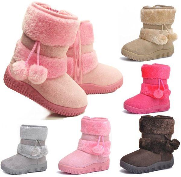 Filles Bottes de neige Épaissir Hiver Enfants Chaussures Pour 3-8 ans Bottes Enfants 2016 Nouveau Style 5 couleur Livraison Gratuite