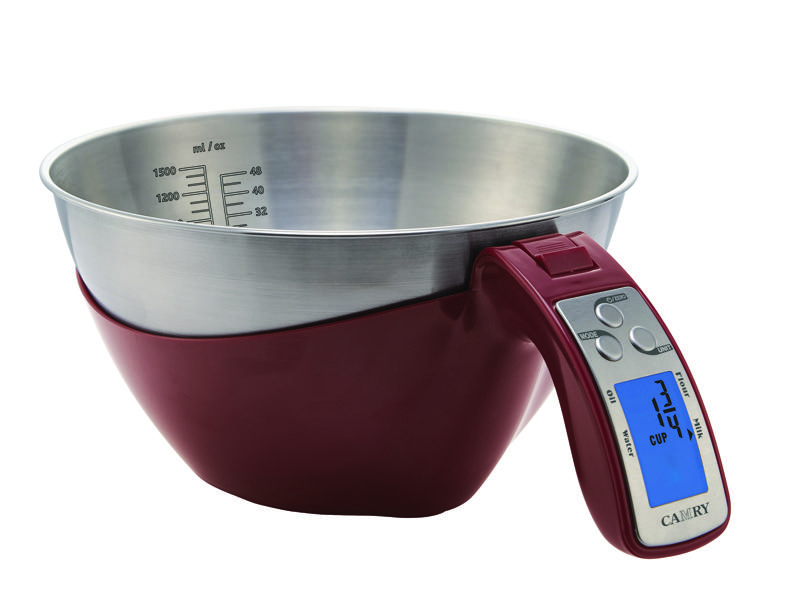 Camry Digital Kitchen Scale Capacity 5kg Division 1g Kitchen Gadgets Measuring Tools with 1500ml Stainless Steel Bowl