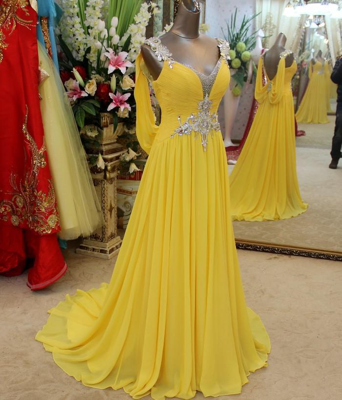 Por encargo, encantadores cristales increíbles con cuello en V hasta el suelo gasa vestido de fiesta de graduación Vestidos de noche baratos