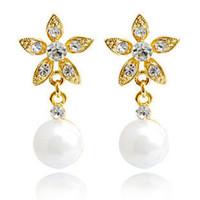 Wholesale ba jewelry - pearl clip-on earrinngs flower drop earrings silver plated 2pairs lot 2013 Rihood Jewelry new arrival BA-264