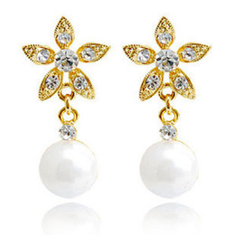 Wholesale New Mother Flowers - pearl clip-on earrinngs flower drop earrings silver plated 2pairs lot 2013 Rihood Jewelry new arrival BA-264
