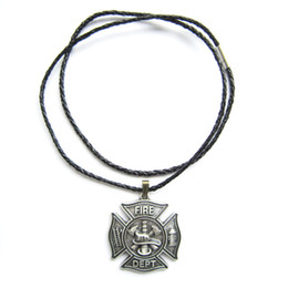 firefighter pendant Promo Codes - Silver Plate 2013 New The Hero Firemen Firefighter Fire Dept Charm Necklace NECKLACE-OC010SL Brand New In Stock Free Shipping