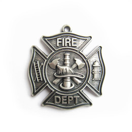 firefighter pendant Promo Codes - Silver Plate Firemen Firefighter Fire Dept Charm Pendant PENDANT-OC010SL Brand New In Stock Free Shipping
