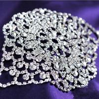 broches de novia al por mayor-Rhinestone brillante nupcial pulseras plateado broche de langosta mujeres pulseras brazaletes de moda joyería de la boda accesorios nupciales 30 unids / lote