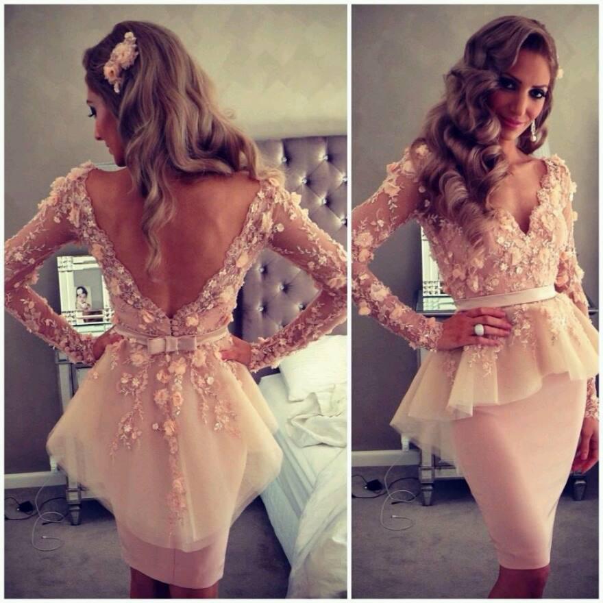 Nuovo arrivo 2014 bello scollo a V manica lunga pura abiti da sera lunghezza al ginocchio Prom Dresses con sash