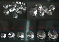 ingrosso perlina in ottone di vetro-Grande Sconto 1000 pz 14 MM CLEAR OCTAGON VETRO DI CRISTALLO PERLINE PARTI CHANDELIER CATENA + 1000 PZ ANELLI LIBERI