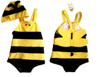 Wholesale Cute Swimsuit Girl - Wholesale - Kids Swimwear Cute Bee modeling swimwear children preschool boys and girls baby kids swimwear + hat swimsuit