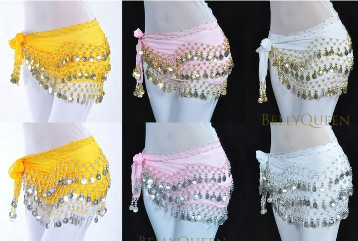 Stage Wear 3 Rows 128 Coins Belly Egypt Dance Hip Skirt Scarf Wrap Belt Costume