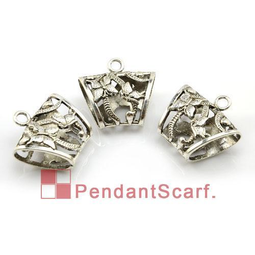 12 stks / partij, Top Mode DIY Sieraden Sjaal Hanger Accessoires Zinklegering Butterfly Design Charm Slide Tube Bails, Gratis verzending, AC0008A