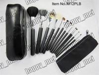 Wholesale Brush Set Numbers - Free Shipping ePacket New Makeup Blusher 12 Pieces Brush Sets+Leather Pouch!!With Numbered!999