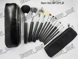 Wholesale makeup blusher brush - Free Shipping ePacket New Makeup Blusher 12 Pieces Brush Sets+Leather Pouch!!With Numbered!999