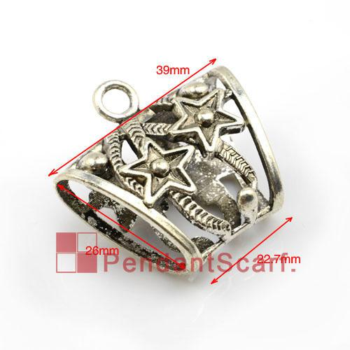 Top Fashion DIY Jewellery Scarf Pendant Accessories Zinc Alloy Five-pointed Star Design Slide Bails Tube, AC0010A