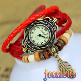 Wholesale Hand Woven Belts - 2013 New Watch PU Retro personality is pure and fresh and hand-woven belts ladies bangle bracelet watches yulan mixs color 10pcs lot