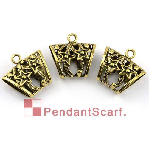 12 PÇS / LOTE, Moda DIY Jóias Cachecol Pingente de Bronze Antigo Liga de Zinco de Cinco pontas-Star Design Slide Bail Tubo, Frete Grátis, AC0010B