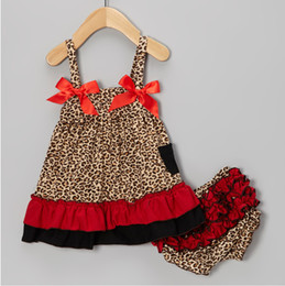 Chinese  leopard baby clothing set sleeveless girls jumper sets blouse braces dresses children's suits outfit pant underpant panties P514 manufacturers