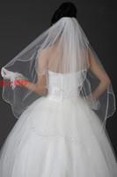 Wholesale Diamond Bead Ivory Wedding Veils - 2 Layer Fingertip Bridal Veil White or Ivory Diamond Bead Wedding Veils + Combs