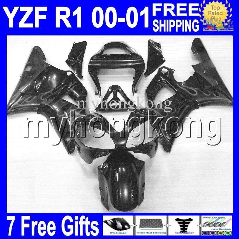 7gifts Preto Para YAMAYA YZF R1 YZF 1000 2000-2001 YZF-R1 YZF-1000 Alta Qualidade MK844 YZFR1 Cinza chamas 00 01 2000 2001 YZF1000 Carenagens