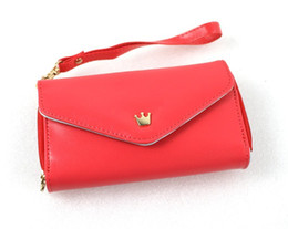 Wholesale random beauty - Random delivery Coin Purses More beauty stylish Crown Smart Pouch Multi propose envelope Purse Wallet For Galaxy S2,S3,iphone