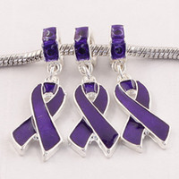 Wholesale Enamel Awareness Charms - Free Shipping 20pcs Purple Enamel Ribbon Awareness Loose Big Hole Charms Beads Fit European Bracelet ,Diy jewelry accessories