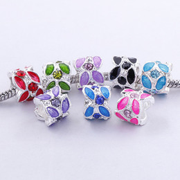 Wholesale Rhinestone Cone Bracelet - Free Shipping 20pcs Mixed Colors Enamel Rhinestone Alloy Silver Cylindrical Large Hole Charms Beads For European Bracelet Making