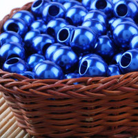 Wholesale Deep Blue Acrylic Beads - Free Shipping Wholesales 50pcs Deep Blue Acrylic Faux Shiny Pearl Rondelle Loose Large Hole Charm Beads Fit European Bracelet 020133