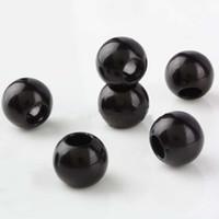 Wholesale Rondelle Large Hole - Free Shipping Wholesales 50pcs Black Acrylic Faux Shiny Pearl Rondelle Loose Large Hole Charm Beads Fit European Bracelet 020138