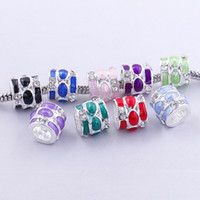 Wholesale Mixed Rhinestone Spacers - 50pcs Mixed Colors Enamel Rhinestone Embellishment Large Hole Metal Beads Fit European Bracelet, Charm Spacers For Making Jewelry 020170