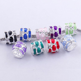 Wholesale European Rhinestone Spacers - 50pcs Mixed Colors Enamel Rhinestone Embellishment Large Hole Metal Beads Fit European Bracelet, Charm Spacers For Making Jewelry 020170