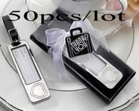 Wholesale Silver Cake Boxes - 50PCS LOT Silver Heart luggage tag wedding favors in black gift box For wedding Gifts and airplane name tag and Party Favors Free shipping