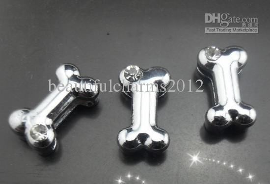 8mm one rhinestone dog bone slide charm Fit for 8MM Pet Collar Bracelet DIY Accessories