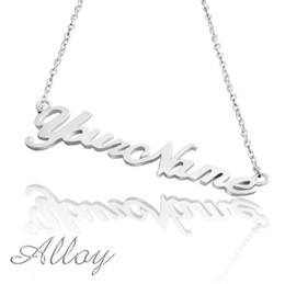 Wholesale Rhinestone Chain Necklace - Name Necklace Alloy Personalized Pendant Necklace - Your Exclusive Jewelry, Friendship, Gift Ready, Customized Name Necklace