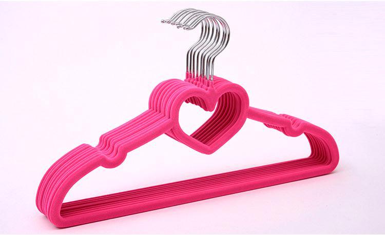 Housekeeping Tools Mixed Colorful Velvet Flocked Non-slip Clothes Hanger Magic Creative Heart Dress Hangers Clothese Racks
