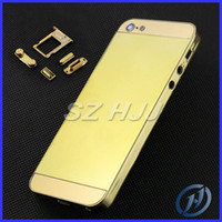 Wholesale chrome housing - Gold Chrome Middle Frame Housing Plating Back Cover Housing Replacement For iPhone 5 5G Free With Side Button Free Shipping by china post