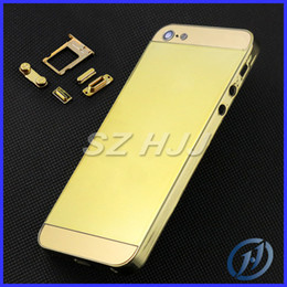 Wholesale Iphone Gold Middle Plate - Gold Chrome Middle Frame Housing Plating Back Cover Housing Replacement For iPhone 5 5G Free With Side Button Free Shipping by china post