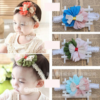 Wholesale Head Band Flower Girl Blue - 50pcs Baby Lace Head Band Children Girls Bowknot Flower Hair Hoop Kid Party Hair Bands Infant Elastic Hairband Hair Accessory 2910