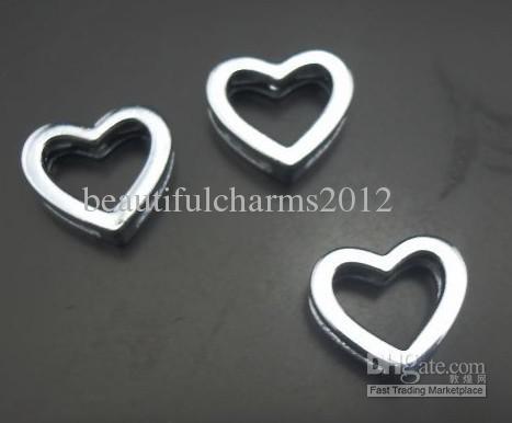 Venta al por mayor 100 unids / lote 8 mm corazón deslizamiento encanto alfabeto accerrories hallazgos de la joyería aptos para 8 MM llaveros pulsera