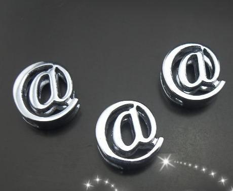 100 pçs / lote 8mm cromo @ símbolo slide charme apto para 8 MM diy chaveiros pulseira pulseira resultados da jóia