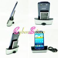 Wholesale 2 in USB Cradle Dock Battery Charger Charging Desktop Micro Cable Stand Station for Samsung Galaxy SIV S4 i9500