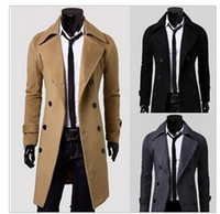 Wholesale Unique Wool Coats - men's unique slim double faced kuruksetra outerwear long design double breasted wool coat