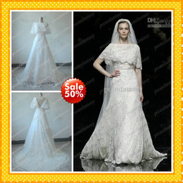 Wholesale Elie Saab Actual - 2016 Actual Images Custom Made High Quality Bateau Neck Lace Bolero Wrap Beaded A-Line Elegant Elie Saab Beach Wedding Dresses Affordable