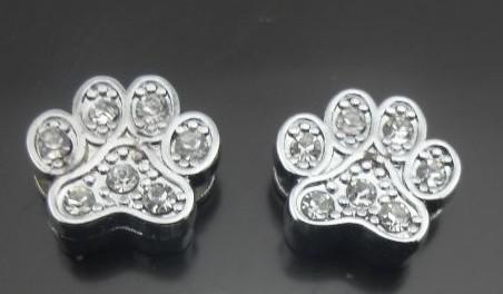 100 pçs / lote 8mm strass pata de slides charme Fit para 8mm diy pet colar de couro pulseira chaveiros