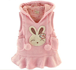 Wholesale Long Hooded Down Vests - Autumn Winter Children Waistcoat Coral Fleece Long Style Baby Girl Hoodies Coat Cartoon Rabbit Kids Vest Coat Dress QS225 1pcs Retail