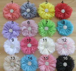 Wholesale Flowing Hair - Free Shipping!20pcs Shabby Chiffon Flowers diamond center without hairclip baby girl Flower hairwear corsage Hair accessories,Ballerina flow