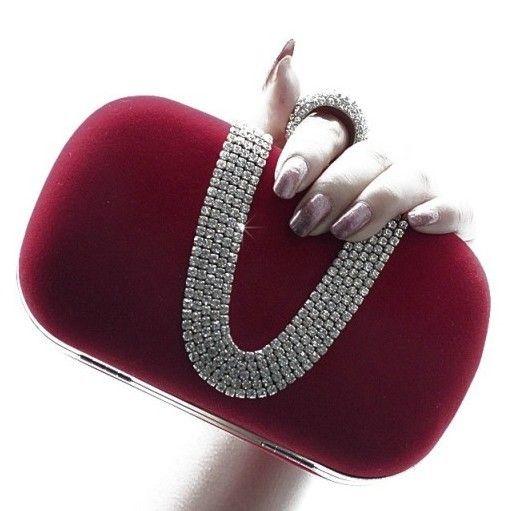 Fashion Designer Burgundy Fuchsia Black Evening Clutch Purse Totes Cocktail  Party Wedding Clutch Bags Handbag Drill Crystal Elegant Noble Womens Purses  ... 514841f1c46d