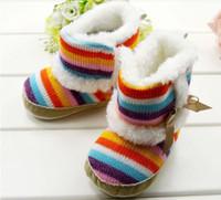 Wholesale Snowboots Boys - Newborn infant Rainbow Snowboots Boots Infant boys girls toddler baby boots shoes