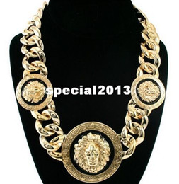 Wholesale Celebrity Choker Necklace - Min Order $10(Can Mix Item) Women Gold Black Three Lion Head Chunky Chain Link Necklace Rihanna Celebrity Jewelry